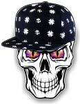 GOTHIC Hip Hop SKULL With PURPLE Evil Eyes and Rapper Cap Motif External Vinyl Car Sticker 100x78mm
